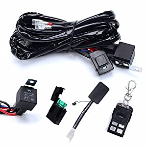 Kawell Heavy Duty Led Light Bar Wiring Harness Kit With 14 Awg Wiring 40amp Relay On Off Strobe Remote Control Switch 1 Lead 12 Ft Remote Control