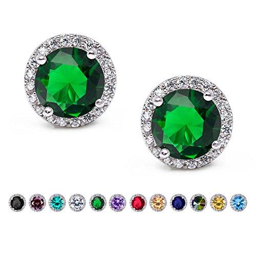 - SWEETV Cubic Zirconia Stud Earrings, 10mm Round Cut, Rhinestone Hypoallergenic Earrings for Women & Girls, Emerald