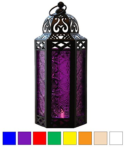 Purple Glass Moroccan Style Candle Lantern - Great for Patio, Indoors/Outdoors, Events, Parties and Weddings (Styles Patio)