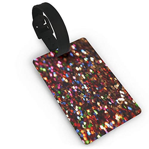 (HAWAK Shining Sequins Luggage Tags Travel ID Bag Tag for Suitcase,Printed Luggage Tags,Flexible PVC Travel ID Identification for Bags)