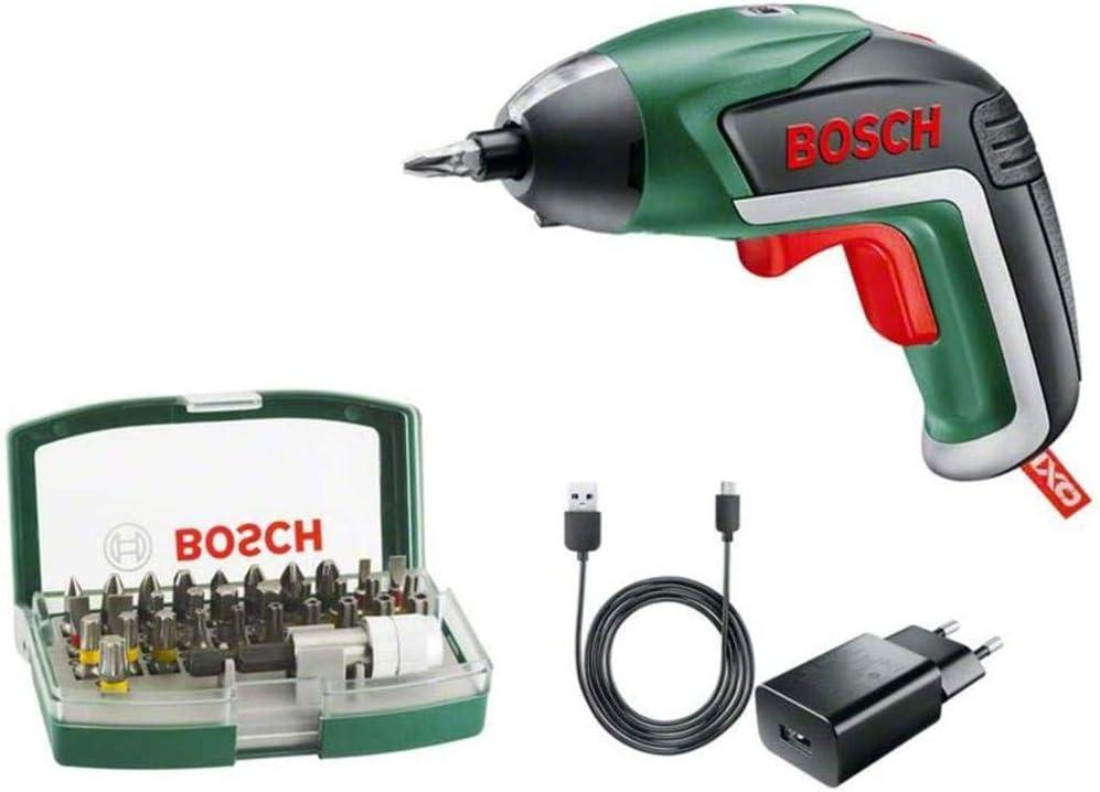 BOSCH 06039A800S - Atornillador a batería Ixo 32 puntas Batería de litio integrada 3,6 V 1,5 Ah. Luz Powerlight. Máx. por apriete 4,5 Nm. 215 rpm en vacío. Multicolor