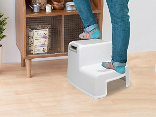 Prorighty Non-Slip Resistant Bottom for Safety Kitchen 2-Pack Two-Step Soft grids for Growing Children Dual Hight Step Stool for Kids,Toddlers,Potty Training Stool Bathroom
