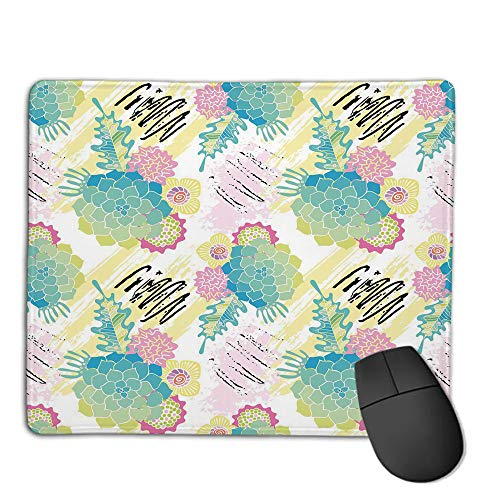 (Comfortable Mouse Pad Quality Selection,Succulent,Floral Corsage Pattern with Brushstrokes Colorful Flourish Foliage Summer Field Decorative,Multicolor,Consoles More Enjoy Precise & Smooth)
