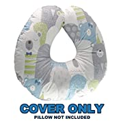 Bamboo Nursing Pillow Cover w/Waterproof Layer | Antibacterial & Extra-Soft Slipcover for Baby Breastfeeding Cushion | Machine Washable Slip-On Protective Cover for Infant Support Pillow(LovelyBear)
