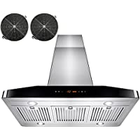 AKDY 36 Kitchen Stainless Steel Island Mount Ductless Range Hood w/ LED Touch Control Panel & Stainless Steel Baffle Filters