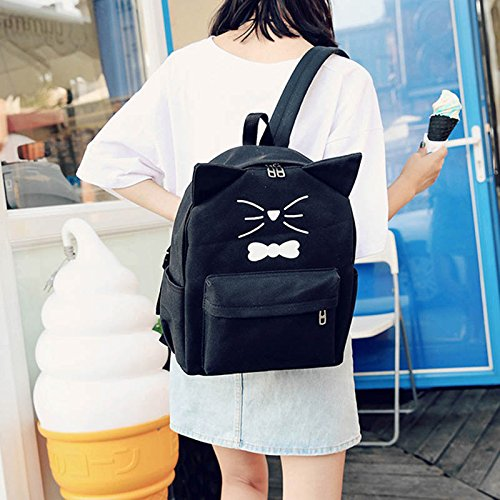 Espeedy Cute mujeres niñas gato orejas lienzo mochila escuela bolsa casual lindo mochila para adolescentes estudiantes negro