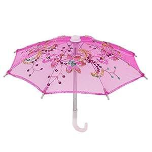 Sourcingmap–a15032100ux0050boda (hecha a mano, diseño de lentejuelas Decor Mini Encaje de algodón Sombrilla Paraguas, color rosa/blanco/amarillo/verde