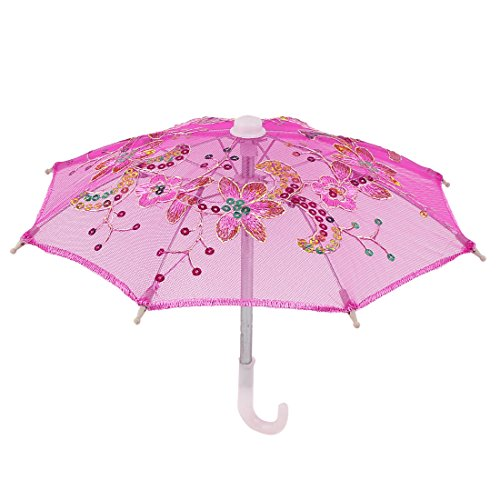 Handmade Wedding Sequin Decor Cotton Lace Mini Parasol Umbrella Pink