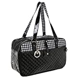 quilted dog carrier - MG Collection Quilted Designer Black & White Hounds Tooth Pet Travel Tote / Soft Sided Dog & Cat Carrier