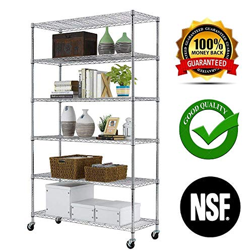 PayLessHere Chrome 6 Shelf Commercial Adjustable Steel shelving systems On wheels wire shelves, shelving unit or garage shelving, storage (Chrome Shelving)