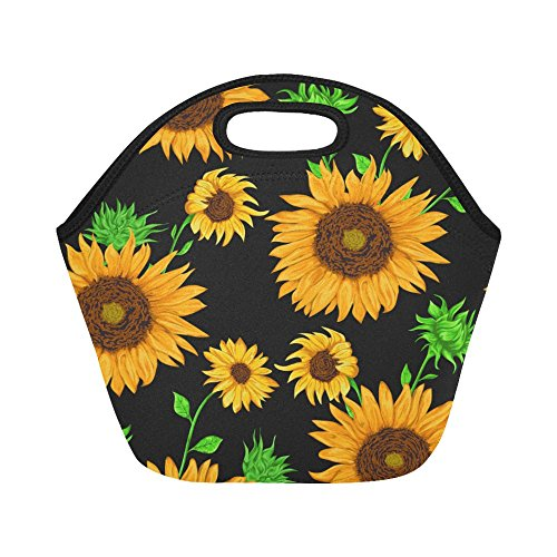 InterestPrint Pattern Sunflower Flowers Reusable Insulated Neoprene Lunch Tote Bag Cooler 11.93