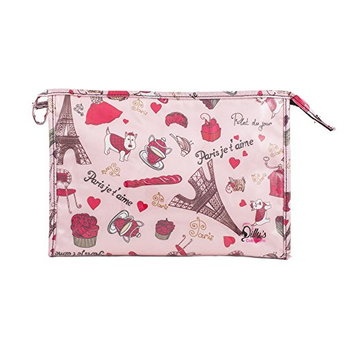 New Dilly's Collections Pink Cosmetic Bag Paris Je t'aime Design- Large Makeup Bag Cosmetic Pouch for Travel or Bathroom Storage
