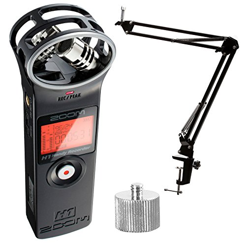 Zoom H1 Ultra-Portable Digital Audio Recorder with Knox Boom Arm (w/ Studio Boom Arm) by Zoom