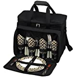 Picnic at Ascot Equipped Insulated Picnic Cooler with Service for 4 – London Plaid