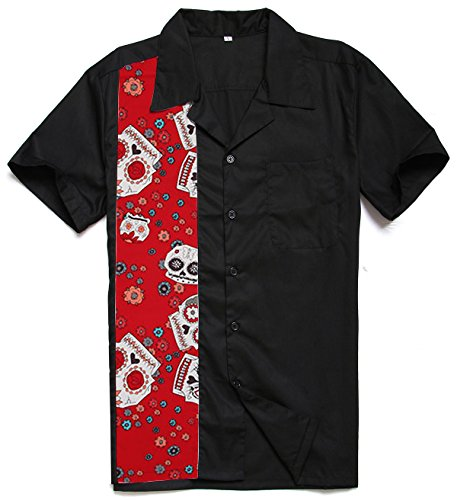 Candow Look Men Cotton Bowling Skull Print Panel Plus Size Novelty Shirts - Red