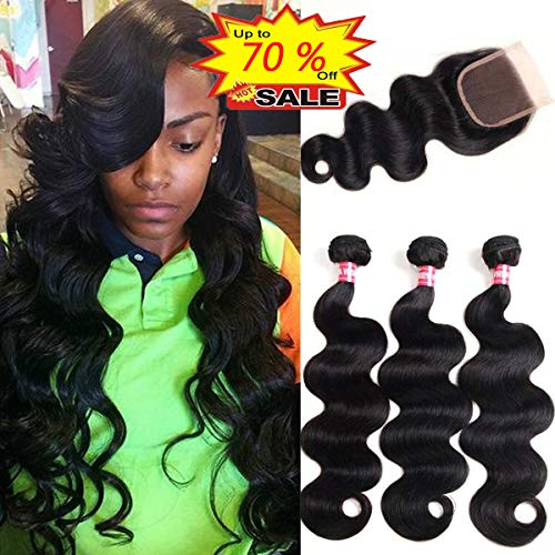 WENYU Brazilian Virgin Body Wave 3 Bundles with Closure 8A 100% Unprocessed Virgin Body Wave Human Hair Weave Weft Extensions with 4x4 Lace Closure Natural Color(12 14 16+10Free Part)
