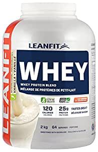LeanFit 100% Whey Protein with Whey Isolate, Natural Vanilla Flavour, Gluten-Free, 2 Kg