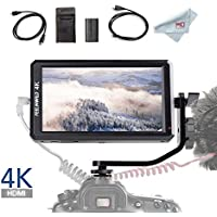 Feelworld F6 5.7 Inch Full HD On-Camera Monitor with 4K HDMI Input DC 8V Power Output, Tilt Arm and F550 Battery Kit Included