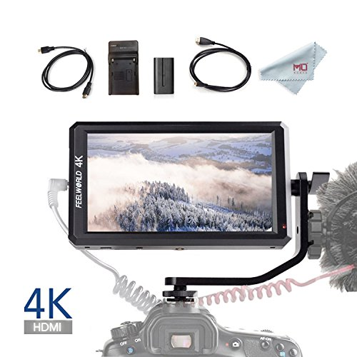 Feelworld F6 5.7 Inch Full HD On-Camera Monitor with 4K HDMI Input DC 8V Power Output, Tilt Arm and F550 Battery Kit Included by FEELWORLD