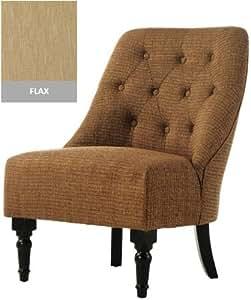 "Vincent Tufted Slipper Chair, 25""x29"", FLAX"
