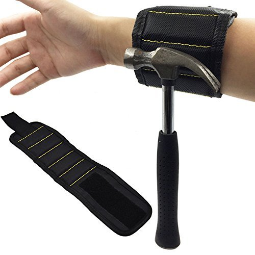 TIMESETL Magnetic Tool Wristband Adjustable Magnetic Wrist Band for Screws Nails Comfortable Super Magnetized with 10pcs Neodymium Magnet Handsfree for Holding Tools/Strap (Finger Magnet)
