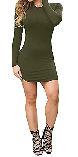 2f2804fe4c5b6 Ermonn Women's Sexy Bodycon Long Sleeve Mini T Shirts Dresses Black White  for Party Club