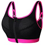 newlashua Women's Support Push Up Zip Front Close Padded Adjustable Sports Bra X-Large Pink