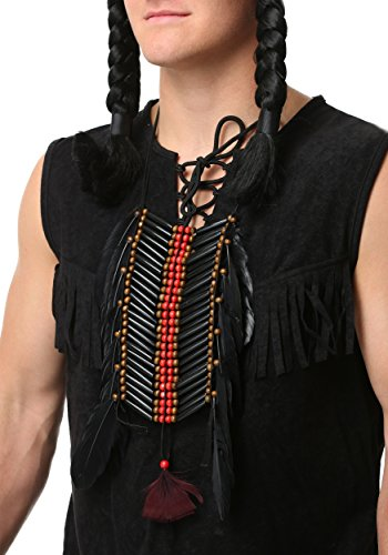 Costume Breastplate (Black Beaded Native American Breastplate With Feathers -)