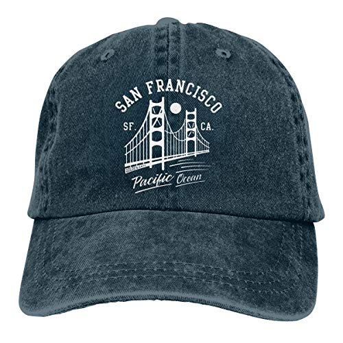 Men Women Adjustable Vintage Jeans Baseball Cap San Francisco Golden Gate Bridge Moon Hiphop Cap