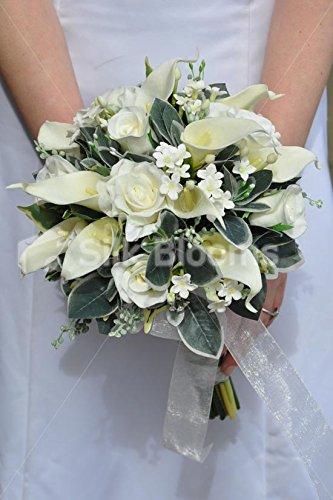Artificial Ivory Calla Lily and Stephanotis Bridal Bouquet w/ Foliage