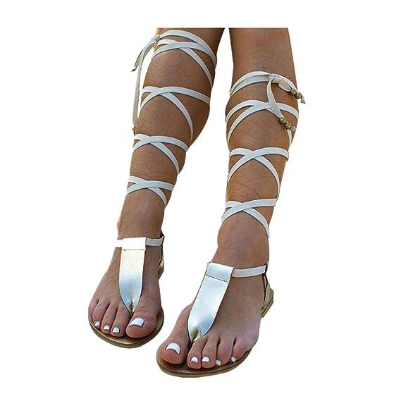f5d07ca8fff6f Alaso Sandales Spartiates en Cuir, Femme Gladiateur Bottes Été Flat  Chaussures Romain Style Lacets Flip Flop Spartiate Chaussure Casual Plage:  Amazon.fr: ...
