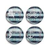 Four Corners Nautical Blue Stripe 8 x 8 Melamine Accent Plates Set of 4