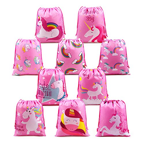 (Unicorn Party Bags Supplies for Girls Birthday Party Favors and Gifts, 10 Pack Cute Unicorn Drawstring Goodies Bags)