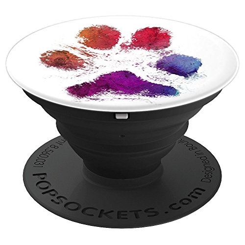 Watercolor Paw Print, distressed, rustic, rainbow, art - PopSockets Grip and Stand for Phones and Tablets ()