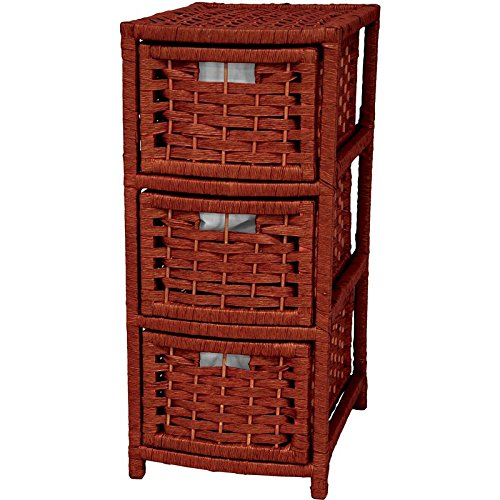 Oriental Furniture 25' Natural Fiber Occasional Chest of Drawers - Mahogany