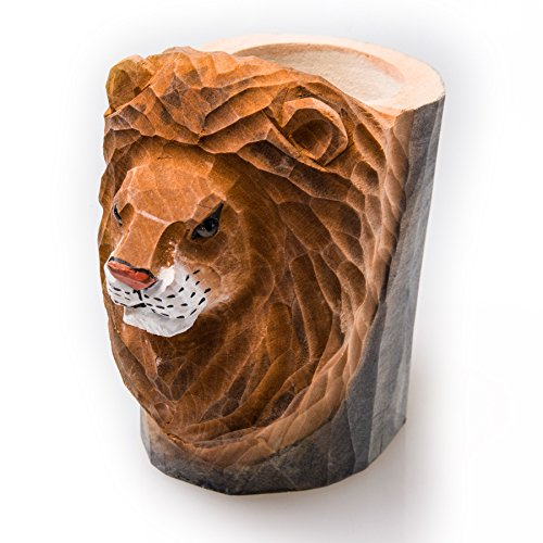 Cimostar Premium Handmade Wooden Pencil Holder,Cute Design for Desk, Office, and Home(Lion) ()
