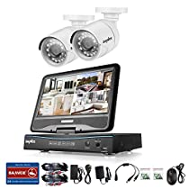 SANNCE Video Monitoring System 4CH 720P DVR Recorder with 1080N 10.1'' LCD Combo and (2) Surveillance Cameras Support P2P Technology, QR Code Scan Phone Remote Access Viewing -No HDD