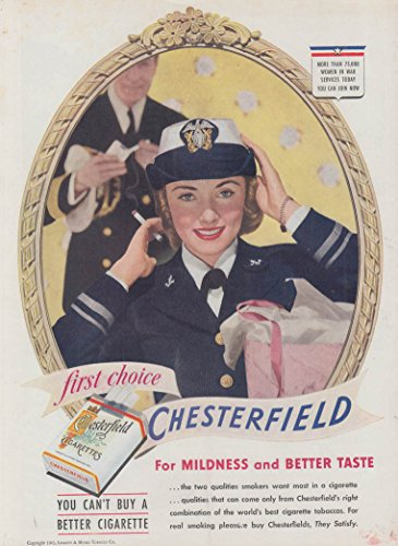 US Navy WAVE for Chesterfield Cigarettes ad - Us Chesterfield