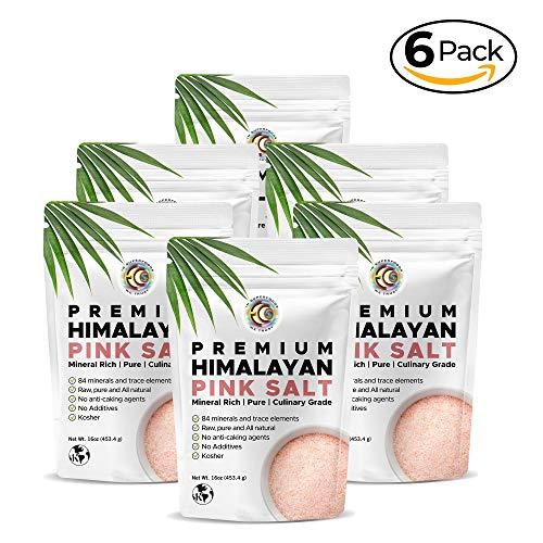 Earth Circle Organics Premium Himalayan Pink Fine Grain Salt, No Anti-Caking Agents, Pure Culinary Grade - Kosher, Nutrient and Mineral Dense - 6lb (Caking)