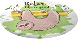 Sloth Round Fitted Tablecloth, Relax Life is Good Inspirational Illustration of Tropical Mammal on Tree Branch Decorative Elastic Edge Polyester Fitted Table Cloth, Fits 60