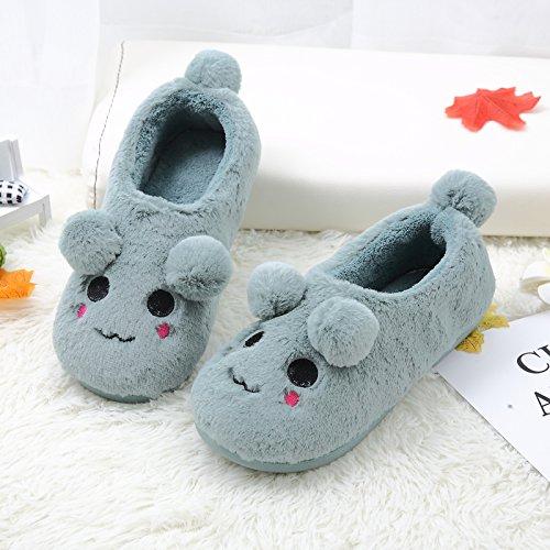 Aemember zapatillas de algodón bolsa con gran Base Los amantes del calzado Home Furnishing Cartoon interior cálido invierno,36-37,azul perezoso zapatillas 36-37|Blue lazy slippers