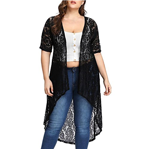Handyulong Women Beachwear Cover up Plus Size Casual Short Sleeve Lace Kimono Cardigan Sheer Summer Swimsuit Blouse Tops (XXXXL, (Sheer Top Dress In Black)