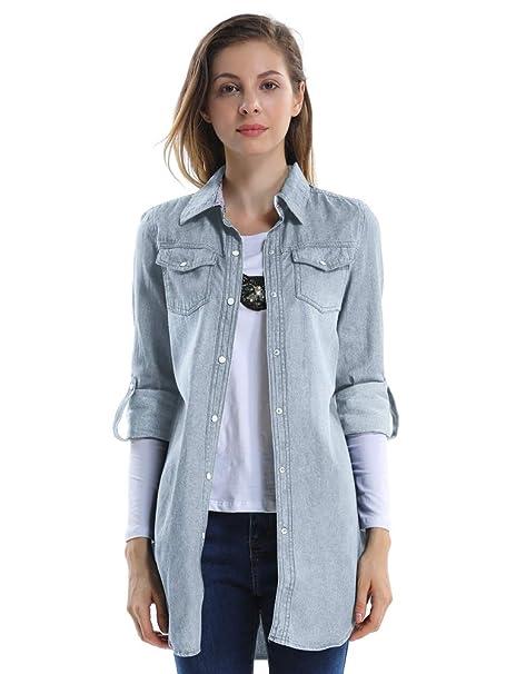 ee1122dd02aee OCHENTA Camisas Jean Blusa Manga Larga -Para Mujer ES 36-44  Amazon.es   Ropa y accesorios