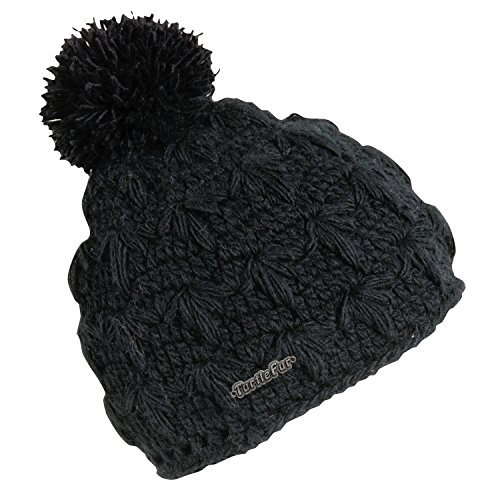 Turtle Fur Lifestyle - Rhoda, Hand Crocheted Pom Beanie Fully-Lined w/micro fleece (Fur Crocheted Hat)