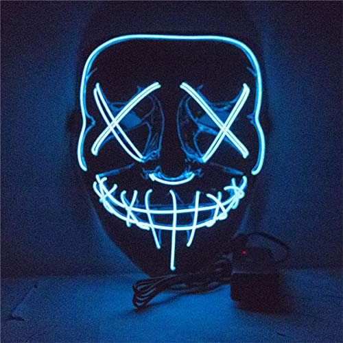 Homemade Dj Halloween Costume (Yourlove one Halloween LED Mask Purge Masks Election Mascara Costume DJ Party Light Up Masks Glow in Dark 10 Colors to Choose)