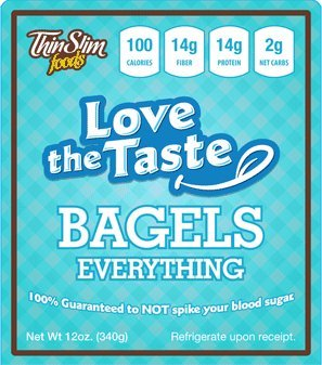 ThinSlim Foods 100 Calorie, 2g Net Carb, Love The Taste Low Carb Everything Bagels - Atkins Diet Bread