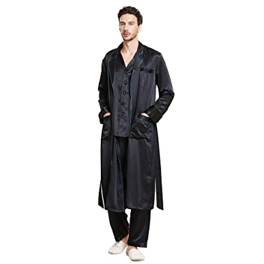 LilySilk 3pcs Silk Pajamas   Robe Set for Men 100 Real Mulberry 22 Momme  Casual Long 74c4bc52c
