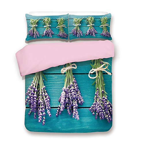 Pink Duvet Cover Set,Queen Size,Fresh Lavender Bouquets on Blue Wooden Planks Rustic Relaxing Spa Decorative,Decorative 3 Piece Bedding Set with 2 Pillow Sham,Best Gift For Girls Women,Sky Blue Lavend
