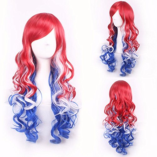 Beauty Wig World Mothers Day Unique 258g 68cm Long Curly Wavy Red/White/Blue Skin Top Hair Taylor Swift Hairstyle Harajuku Wigs