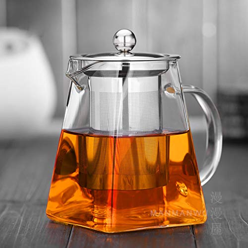 Warmyee Hofu Small Clear High Borosilicate Glass Tea Pot with Removable 304 Stainless Steel Infuser, Heat Resistant Loose Leaf Teapot,Stovetop Safe, 350 ml/11.8 - Steel Teapot Square Stainless